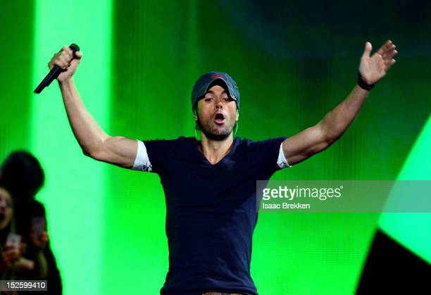 Singer Enrique Iglesias performs onstage during the 2012 iHeartRadio Music Festival at the MGM Grand Garden Arena on September 22 2012 in Las Vegas...