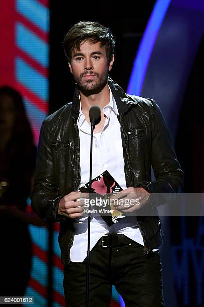 Singer Enrique Iglesias speaks onstage during The 17th Annual Latin Grammy Awards at TMobile Arena on November 17 2016 in Las Vegas Nevada