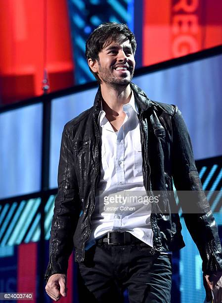 Singer Enrique Iglesias speaks onstage during The 17th Annual Latin Grammy Awards at TMobile Arena on November 17 2016 in Las Vegas Nevada