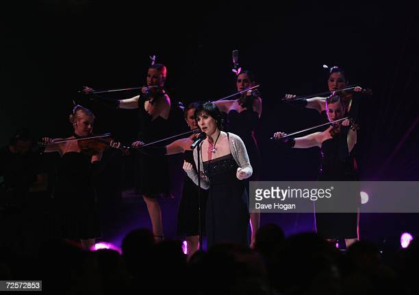Singer Enya performs on stage during the 2006 World Music Awards at Earls Court on November 15 2006 in London