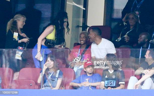 Singer Era Istrefi Jaden Smith and his father Will Smith attend the 2018 FIFA World Cup Russia Final match between France and Croatia at Luzhniki...