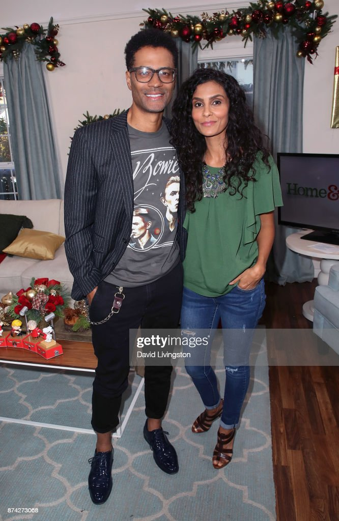Singer Eric Benet (L) and wife Manuela Testolini visit Hallmark's 'Home & Family' at Universal Studios Hollywood on November 14, 2017 in Universal City, California.