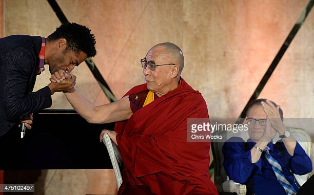 Singer Eric Benet His Holiness the 14th Dalai Lama and Larry King attend The Lourdes Foundation Leadership in the 21st Century Event with His...