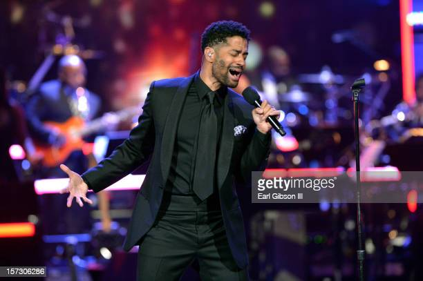 Singer Eric Benet performs onstage during UNCF's 34th annual An Evening Of Stars held at Pasadena Civic Auditorium on December 1 2012 in Pasadena...