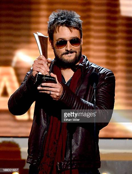 Singer Eric Church accepts the Album of the Year award onstage during the 48th Annual Academy of Country Music Awards at the MGM Grand Garden Arena...