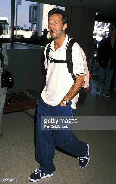 Singer Eric Clapton departing for New York City on September 11 1996 at Los Angeles International Airport in Los Angeles California