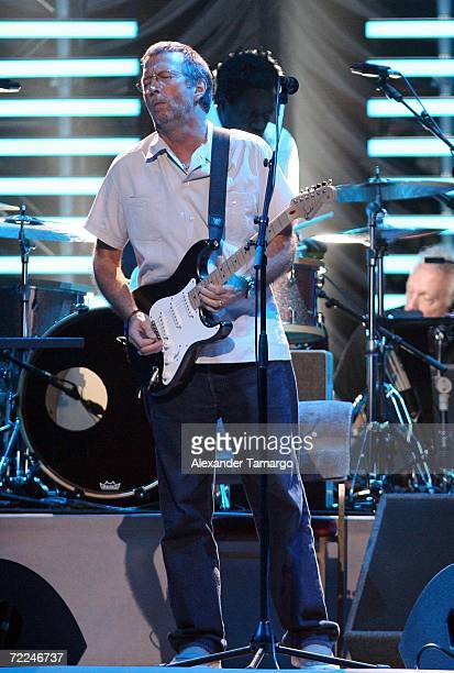 Singer Eric Clapton performs during the Eric Clapton concert at American Airlines Arena on October 23 2006 in Miami Florida