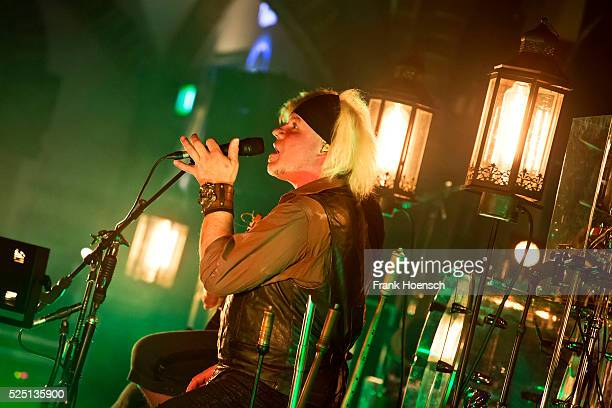 Singer Eric Fish of the German band Subway to Sally performs live during a concert at the Passionskirche on April 27 2016 in Berlin Germany