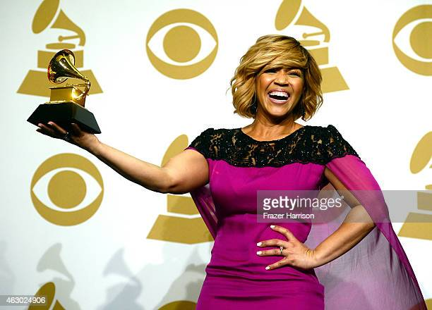 Singer Erica Campbell winner of Best Gospel Album for 'Help' poses in the press room during The 57th Annual GRAMMY Awards at the STAPLES Center on...