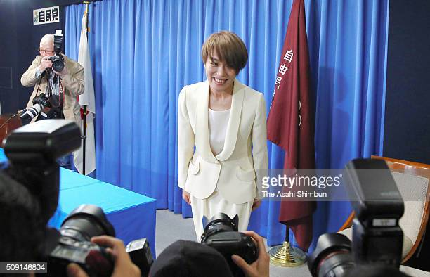 Singer Eriko Imai poses for photographs during a press conference announcing her candidacy for the upper house election at the ruling Liberal...