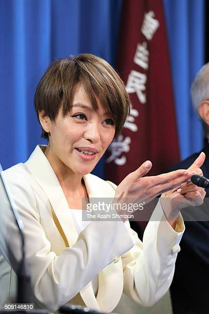 Singer Eriko Imai speaks with finger language during a press conference announcing her candidacy for the upper house election at the ruling Liberal...
