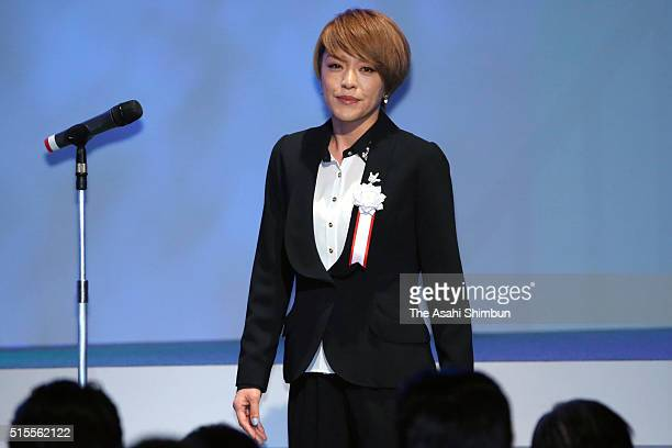 Singer Eriko Imai who will run for the candidacy in the this summer's upper house election attends the ruling Liberal Democratic Party party...