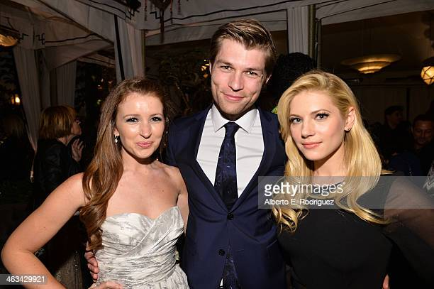 Singer Erin Hasan actor Liam McIntyre and actress Katheryn Winnick attend the Entertainment Weekly celebration honoring this year's SAG Awards...