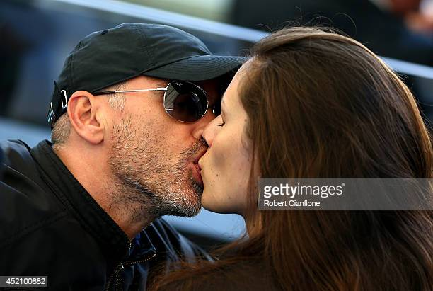 Singer Eros Ramazzotti and wife Marica Pellegrini kiss prior to the 2014 FIFA World Cup Brazil Final match between Germany and Argentina at Maracana...