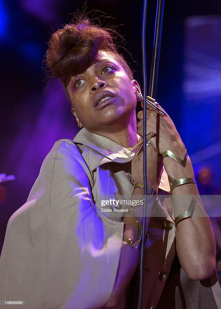 Singer Erykah Badu performs on stage at Nice Jazz Festival at Jardin Albert 1er on July 8, 2012 in Nice, France.