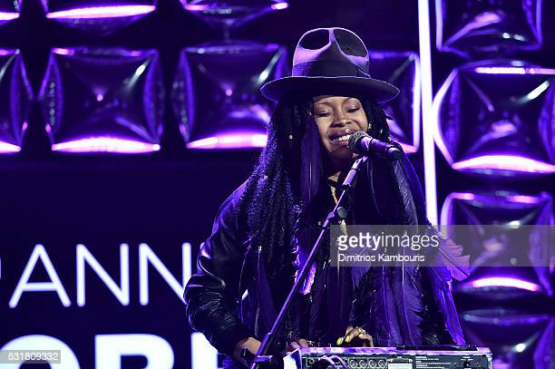 Singer Erykah Badu performs on stage at the 20th Annual Webby Awards at Cipriani Wall Street on May 16 2016 in New York City