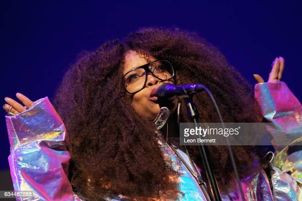 Singer Erykah Badu performs onstage during 2017 Essence Black Women in Music at NeueHouse Hollywood on February 9 2017 in Los Angeles California