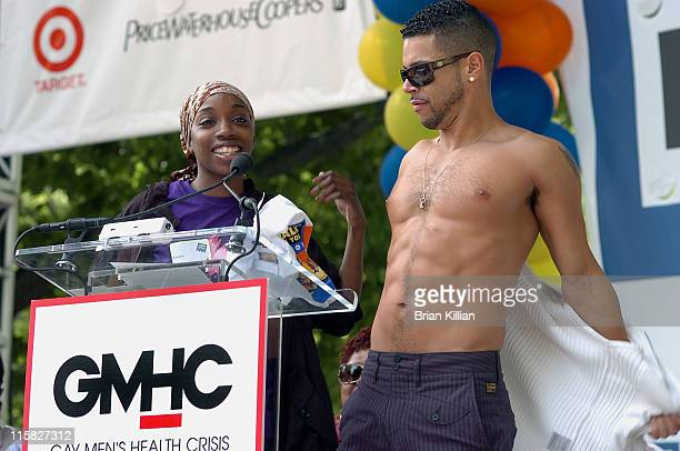 Singer Estelle and actor Wilson Cruz during the 23rd annual AIDS walk in Central Park on May 18 2008 in New York City