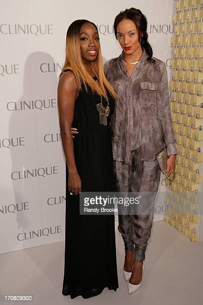 Singer Estelle and model Selita Ebanks attend the Dramatically Different Party hosted by Clinque at 620 Loft Garden on June 18 2013 in New York City