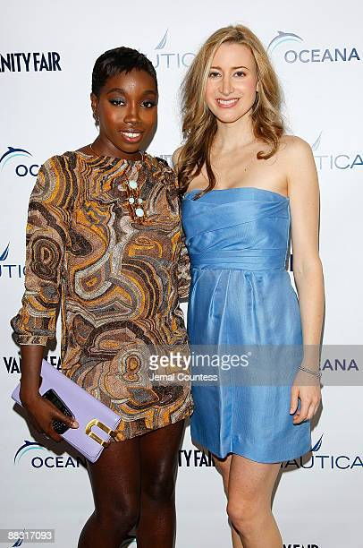Singer Estelle and Vanity Fair Executive Fashion Editor Alexis Bryan Morgan pose on the red carpet during World Oceans Day celebration hosted by...