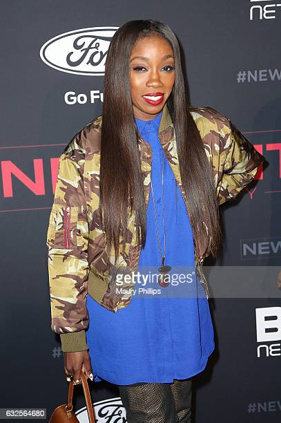 Singer Estelle arrives at BET's The New Edition Story premiere screening on January 23 2017 in Los Angeles California