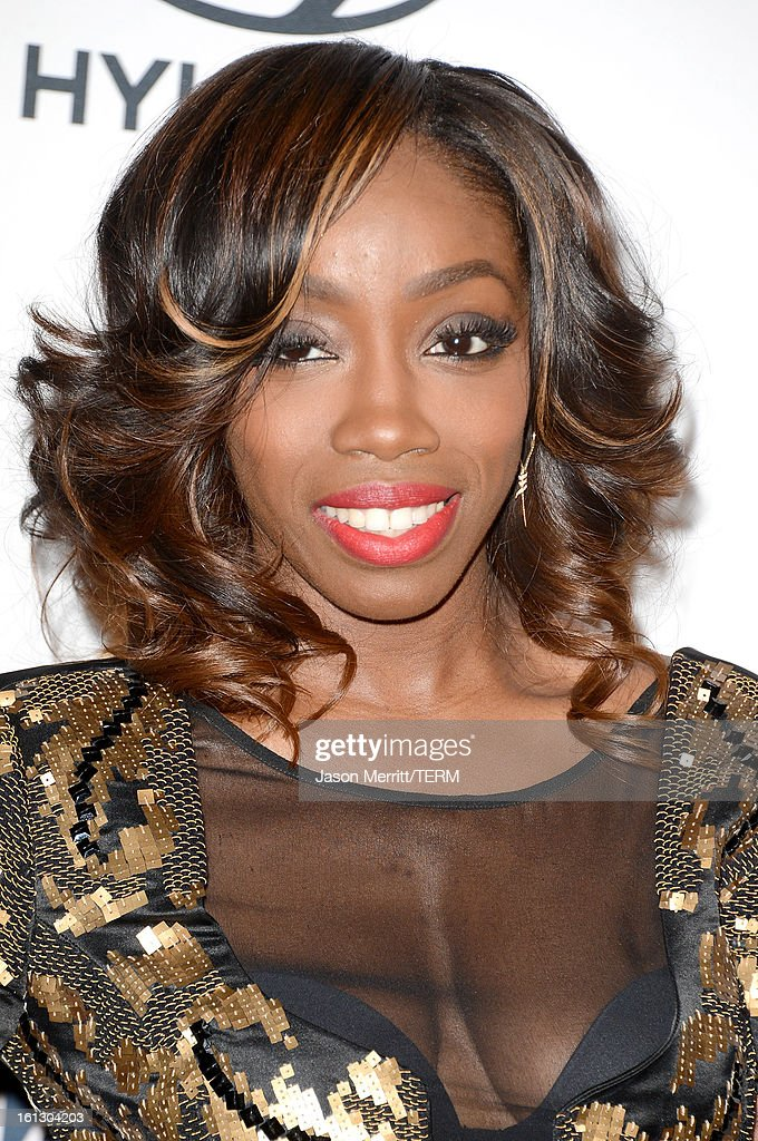 Singer Estelle arrives at Clive Davis & The Recording Academy's 2013 Pre-GRAMMY Gala and Salute to Industry Icons honoring Antonio 'L.A.' Reid at The Beverly Hilton Hotel on February 9, 2013 in Beverly Hills, California.