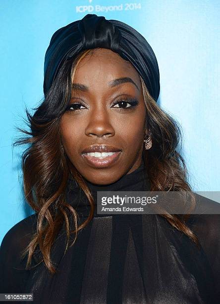 Singer Estelle arrives at the United Nations Foundation's mPowering Action Innovative Mobile Platform launch party at The Conga Room at LA Live on...