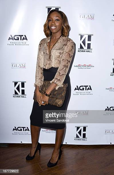 Singer Estelle attends fashion designer Kevan Hall's Spring 2013 Collection on December 5 2012 in Los Angeles California