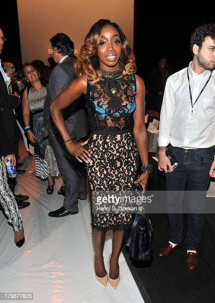 Singer Estelle attends the BCBGMAXAZRIA show during Spring 2014 MercedesBenz Fashion Week at The Theatre at Lincoln Center on September 5 2013 in New...