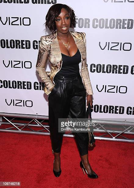 """Singer Estelle attends the premiere of """"For Colored Girls"""" at the Ziegfeld Theatre on October 25, 2010 in New York City."""