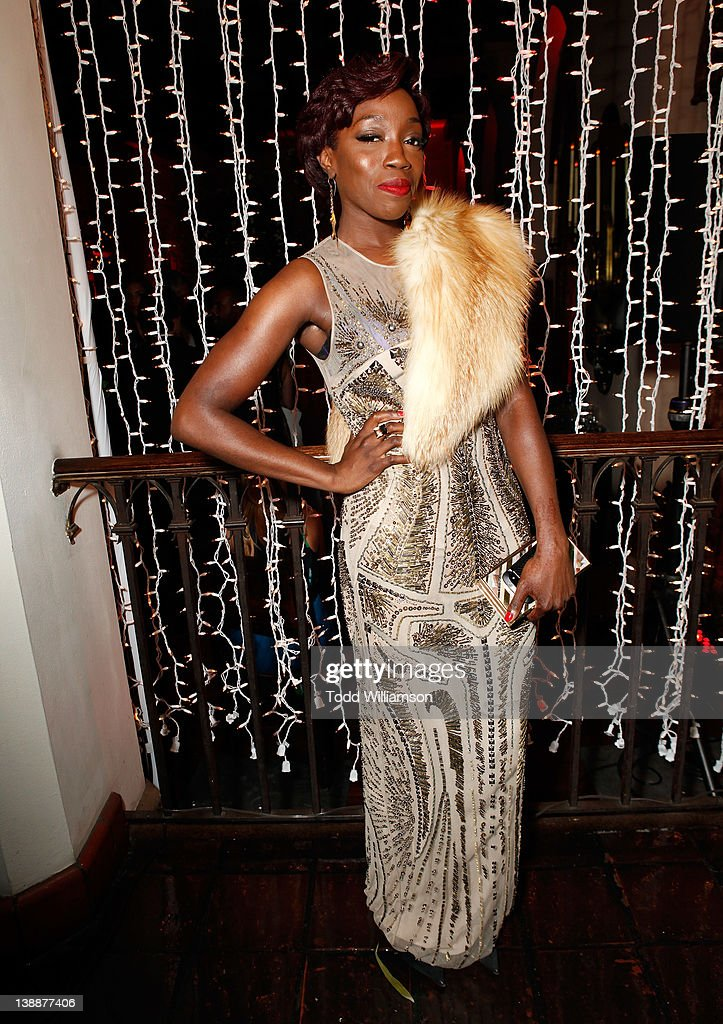 Singer Estelle attends the Warner Music Group Grammy Celebration hosted by InStyle at Chateau Marmont on February 12, 2012 in Los Angeles, California.