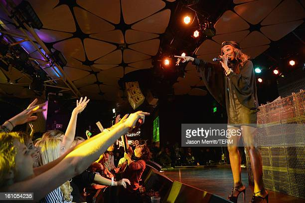 Singer Estelle performs during mPowering Action a global mobile youth movement at Grammy Week launch featuring performances by Timbaland and Avicii...