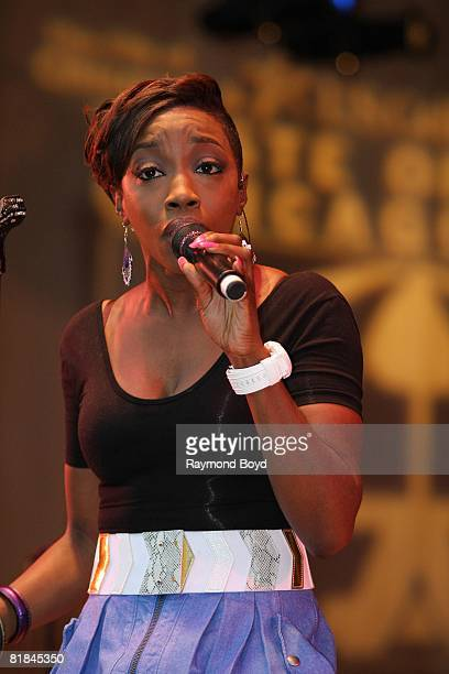 """Singer Estelle performs during the 28th Annual """"Taste Of Chicago"""" at Grant Park in Chicago, Illinois on July 2, 2008."""