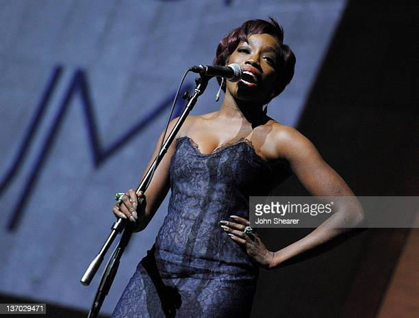Singer Estelle performs onstage during Audi presents The Art of Elysium's 5th annual HEAVEN at Union Station on January 14 2012 in Los Angeles...