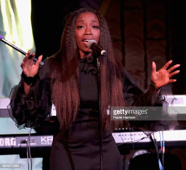 Singer Estelle performs onstage during the 14th Annual Global Green Pre Oscar Party at TAO Hollywood on February 22 2017 in Los Angeles California