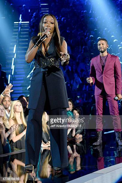 Singer Estelle performs onstage during the 2015 Billboard Music Awards at MGM Grand Garden Arena on May 17 2015 in Las Vegas Nevada