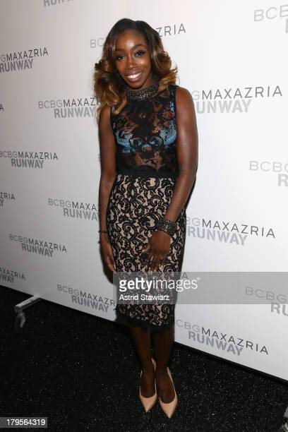 Singer Estelle poses backstage at the BCBGMAXAZRIA Spring 2014 fashion show during MercedesBenz Fashion Week at The Theatre at Lincoln Center on...