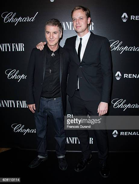 Singer Etienne Daho poses with Nicolas Pellet from Conde Nast at the Vanity Fair Dinner With Chopard In Honor To The Most 50 Influential French...