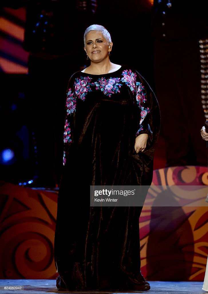 Singer Euginia Leon of musical group Las Tres Grandes performs onstage during The 17th Annual Latin Grammy Awards at T-Mobile Arena on November 17, 2016 in Las Vegas, Nevada.