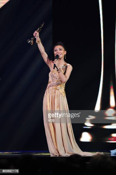 Singer Eve Ai wins the Best Female Vocalist Mandarin of the 28th Golden Melody Awards on June 24 2017 in Taipei Taiwan of China