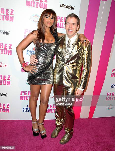Singer Eve and Perez Hilton attend Perez Hilton's 'CarnEvil' 32nd birthday party at Paramount Studios on March 27 2010 in Los Angeles California