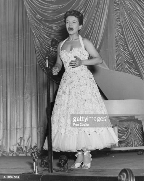 Singer Eve Boswell rehearsing at the London Coliseum for the Royal Variety Performance of 'Guys and Dolls' 2nd November 1953
