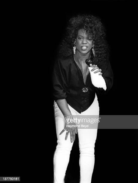 Singer Evelyn 'Champagne' King performs at the Regal Theater in Chicago Illinois in 1988