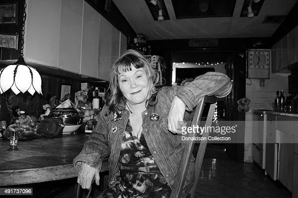 Singer Exene Cervenka of the rock and roll band X poses for a portrait at Rancho De La Luna music studio on October 3 2015 in Joshua Tree California