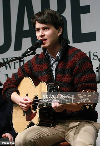 Singer Ezra Koenig of the band Vampire Weekend performs at Barnes Noble Union Square on January 21 2010 in New York City