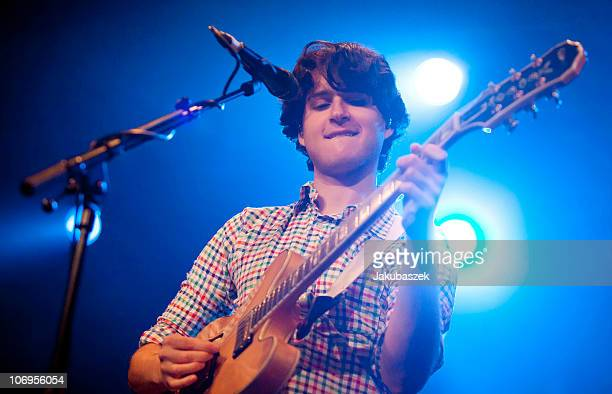Singer Ezra Koenig of the US indie band Vampire Weekend performs live during a concert at the Astra on November 18 2010 in Berlin Germany