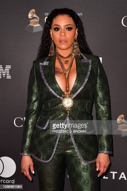US singer Faith Evans arrives for the traditional Clive Davis party on the eve of the 61th Annual Grammy Awards at the Beverly Hilton hotel in...