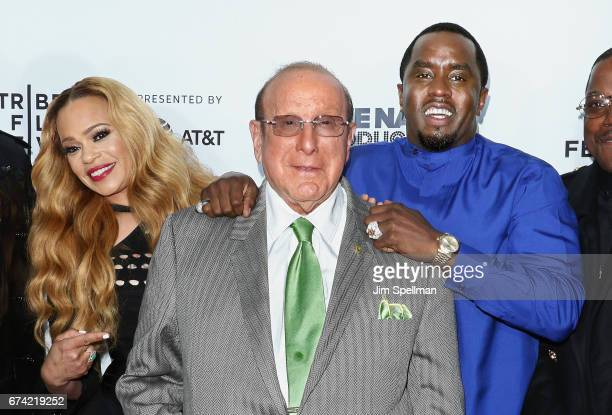 Singer Faith Evans music producer Clive Davis and rapper/actor Sean Combs attend the world premiere of Can't Stop Won't Stop A Bad Boy Story...
