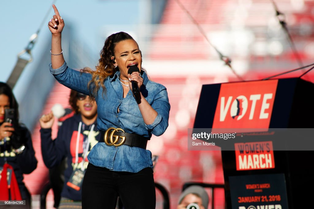 Singer Faith Evans performs during the Women's March 'Power to the Polls' voter registration tour launch at Sam Boyd Stadium on January 21, 2018, in Las Vegas, Nevada. Demonstrators across the nation gathered over the weekend, one year after the historic Women's March on Washington, D.C., to protest President Donald Trump's administration and to raise awareness for women's issues.