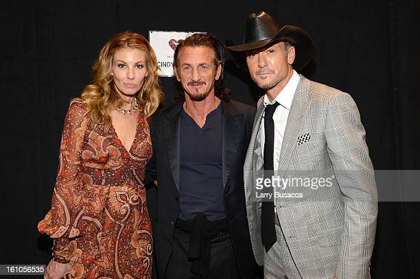 Singer Faith Hill, actor Sean Penn, and singer Tim McGraw attend MusiCares Person Of The Year Honoring Bruce Springsteen at Los Angeles Convention...